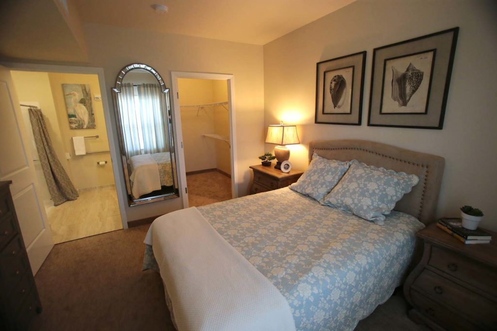 Model room bedroom at Superior Residences of Panama City Beach